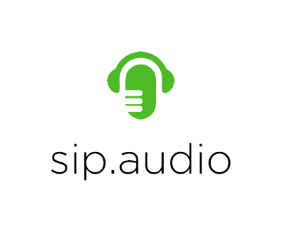 Headphones over green microphone with sip.audio text